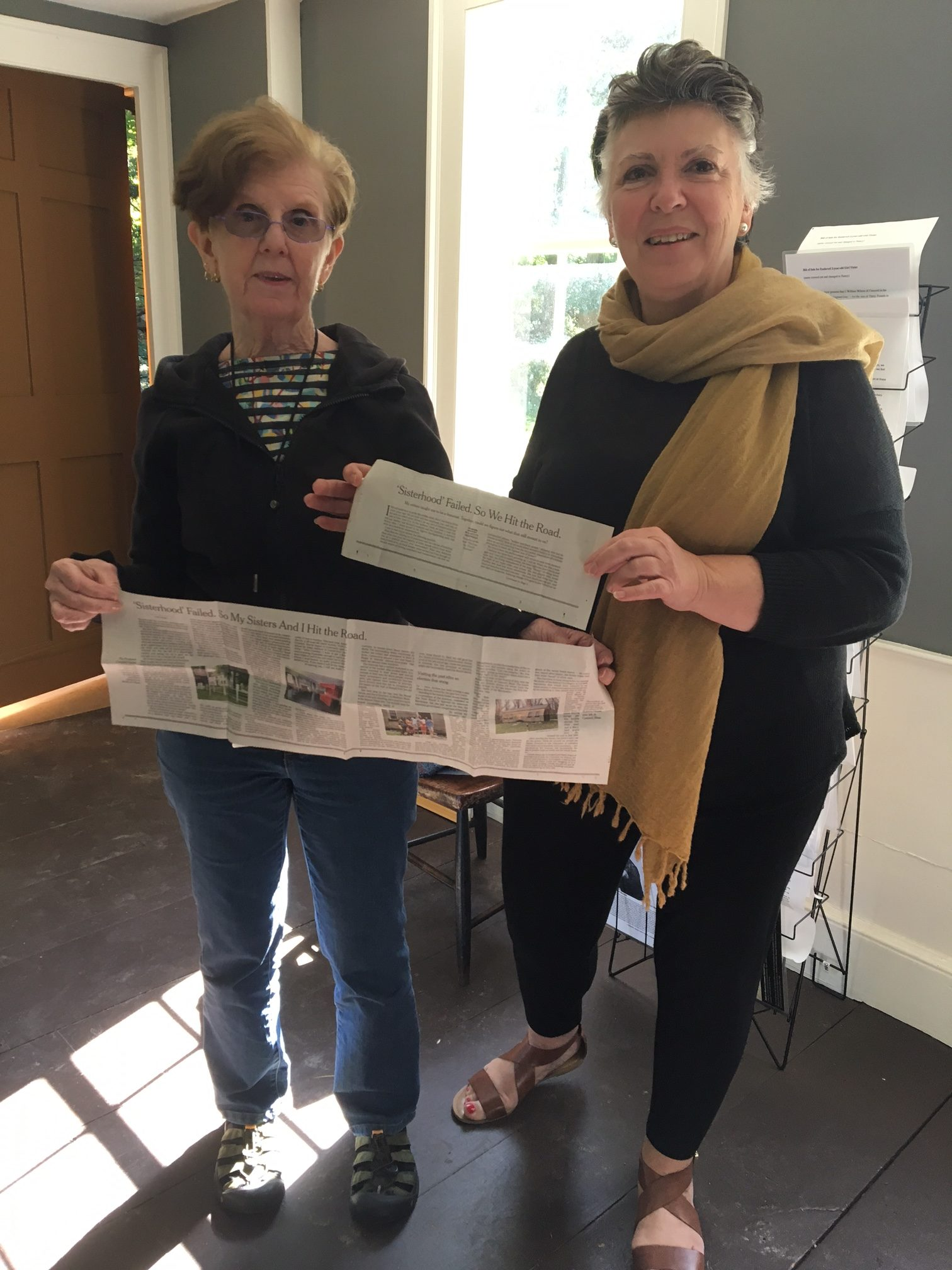 Inspired by this story, retired Framingham teacher Maria (right) and her friend Elaine (left) recently visited the Robbins House to learn Ellen's story, NYT article in hand.