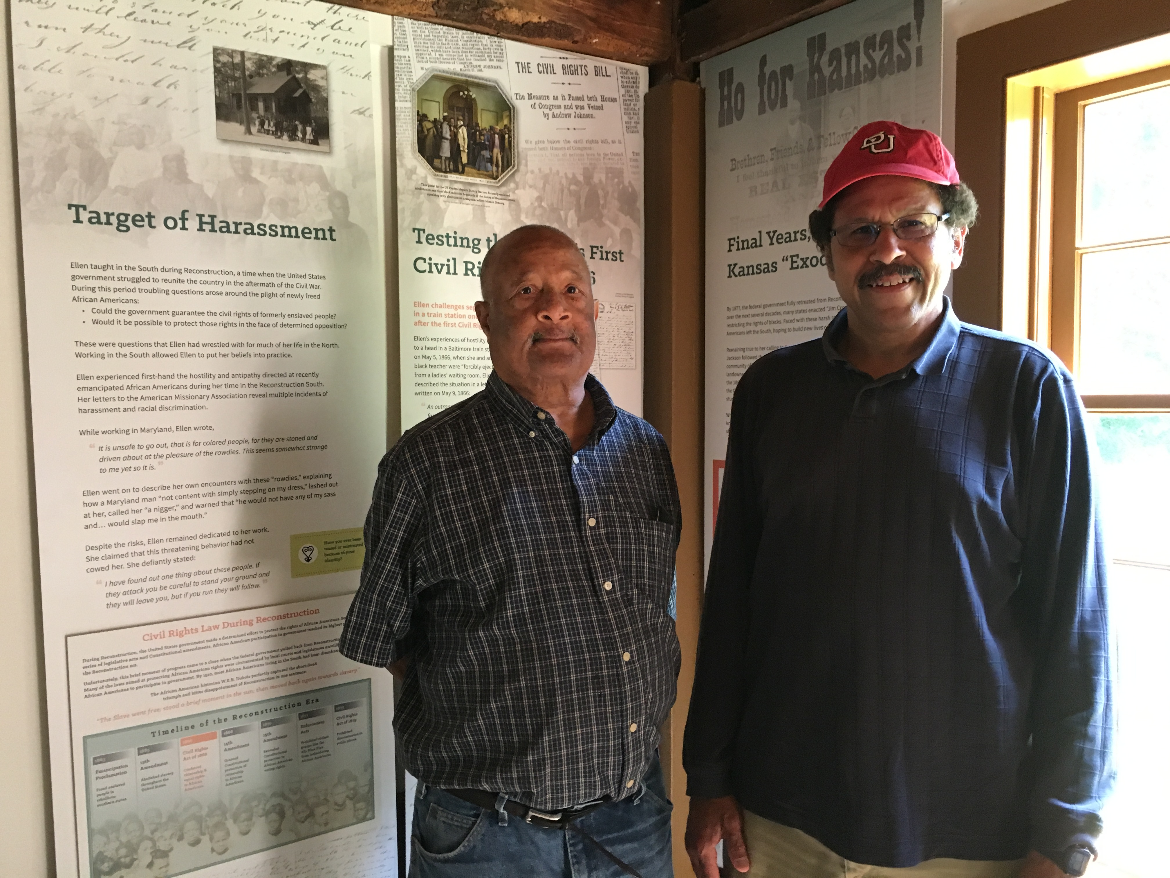 Charles Mauldin (left), a student leader in the 1965 Selma civil rights march and Ken Whitlock (right), Middlesex School history teacher visit the Robbins House.