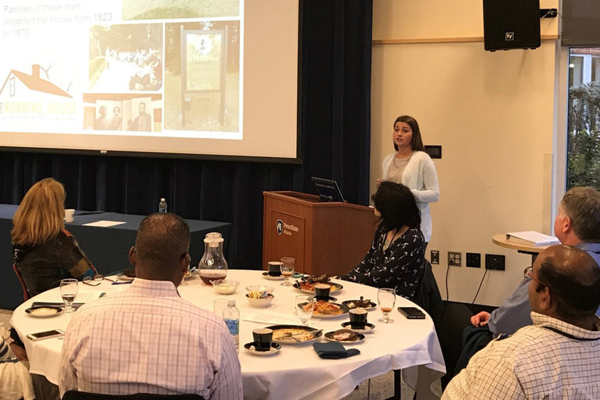 English Grad Olivia Wertz Presenting Her Research On The Robbins House At Penn State Altoona. Image Courtesy Of Penn State